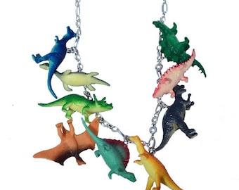 Handmade Multi-Color Dinosaur Toy Necklace