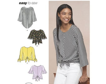 Sewing Pattern for Misses' Pullover Tops, Simplicity Pattern 8601, New Pattern, Womens Tops, Tie Front Top, Easy to Sew Pattern