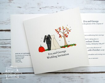 Autumn Bride and Groom Wedding/Evening Invitations