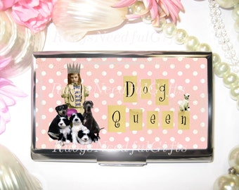 Business Card Holder, Dog Grooming Card Holder, Business Card Case, Stainless Steel, Card Case,  Credit Card Case, Dog Queen.