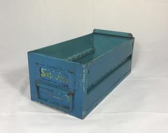 Vintage industrial metal parts bin storage box