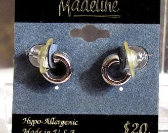Vintage Huggie Earrings ~ Small Wide Petite Hoops ~ Pierced Post Hoop Earrings ~ Silver-Plated Filigree - Hypo Allergenic