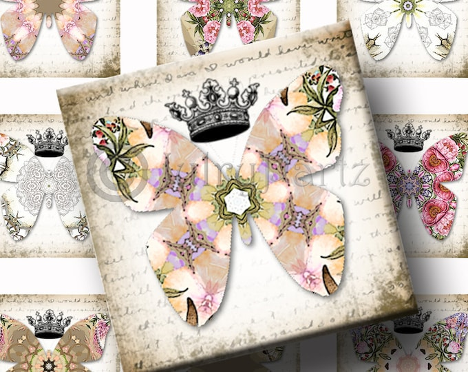 JUNE'S GARDEN Butterfly•1x1 square images•Printable Digital Images•Cards•Gift Tags•Stickers•Magnets•Digital Collage Sheet