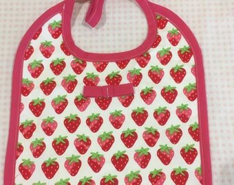 Strawberry Bow Baby Bib