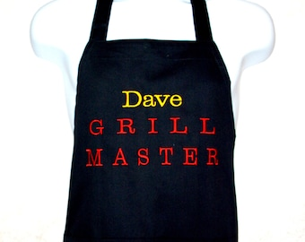 Grill Master Apron, Custom Personalized Gift With Name, For Hubby, Boyfriend, Dad, Husband, Boss, No Shipping Fees, Ships TODAY,  AGFT 420