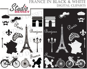 Paris Clip Art Clipart, French Clipart Clip Art, Eiffel Tower in Black and White, Poodle, Bicycle, C206