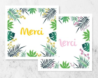 TROPICAL, modern and original birth thank-you cards.