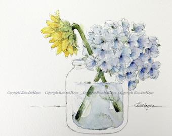 Original Watercolor Painting Sunflower and Hydrangea Flowers Floral Wildflower Bouquet Garden Botanical