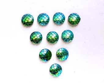 10 Blue/Green AB Resin Mermaid Scale Cabochons 12mm - 14-12-A