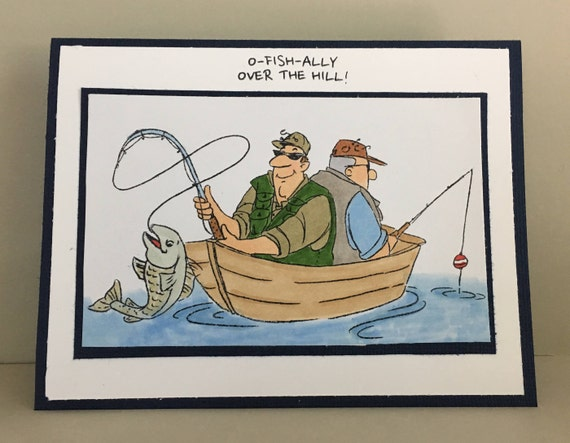 Men fishing card fun birthday card over the hill happy for Fishing birthday wishes