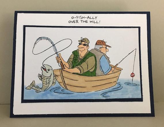 Men fishing card fun birthday card over the hill happy bookmarktalkfo Gallery
