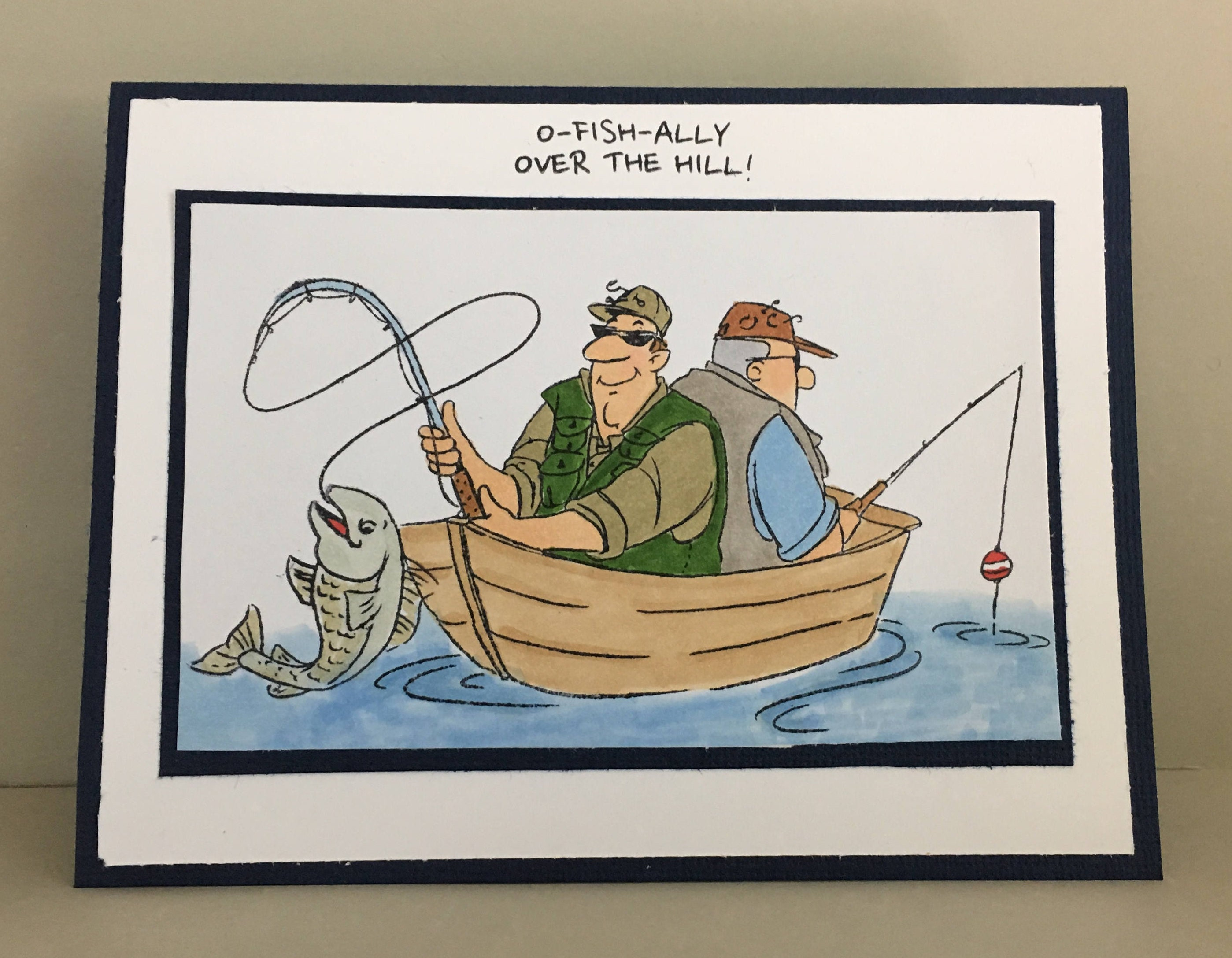 Men fishing card fun birthday card over the hill happy zoom kristyandbryce Choice Image