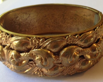 Sale Vintage High Relief Repousse Hinged Bracelet
