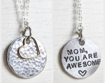 Mom Secret Message Necklace, Sterling Silver, Mom Necklace with Gold Heart, Hidden Message Jewelry, Custom Necklace, Personalized Mom Gift