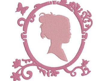 Instant download Frame Silhouette female portrait embroidery design