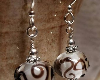 Handmade Earrings - SWIRLED Glass Beads on Sterling Silver Earwires