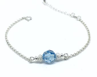 Swarovski aquamarine and sterling silver bracelet.