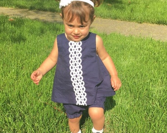 Navy Blue Shif Dress,White Ties for Open Back, White Lace Trim, Baby and Toddlers Pinafore, Bloomers Set