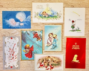 8 Vintage Christmas Baby Jesus Cards, Religious Christmas Cards, 1950s-1960s Children Praying, Shepherd Boy, Nativity