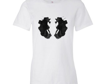 Women's Psychology T Shirt Rorschach Ink Blot Test Art Style 26