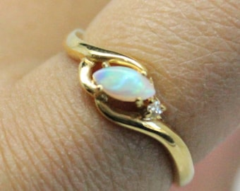 Opal Diamond Marquise 18k Gold Ring | Diamond Gold Ring | Bridesmaids Gift | Genuine Opal Stone
