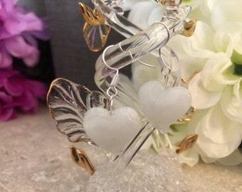 Sterling Silver White Lampwork Glass Heart Earrings