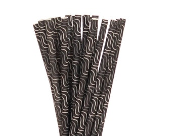 Paper Straws, Black with Gray Waves Paper Straws, Black Birthday Party Straw, Bachelorette Party Straws, Wedding Straws, Glam Sweet 16 Straw