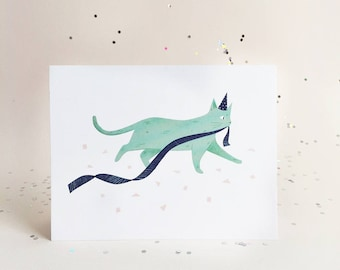 Party Cats - Teal Cat Card