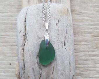 Sage Green pendant, sage green glass, seaglass pendant, seaglass jewelry, sterling silver chain, seaglass,  coloured seaglass