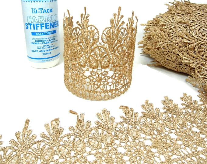1 Gold venise lace by the yard - Vintage gold wide venise lace Lace Crowns, Chokers, Bags, Lace bracelets, Wrist cuffs, Steampunk crafts