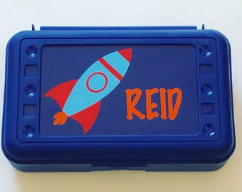 Personalized Pencil Box, Rocket Pencil Box, Back to School, School Supplies, Pencil Case, Pencil Box, Rocket, Space Pencil Box, Crayon Box,