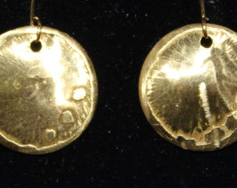 Petite etched brass earrings.  (061617-038)