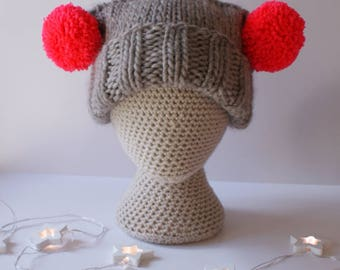 Super Chunky Bobble Hat - Double Bobble  - 100% Pure Wool - Winter Hat - Oversize Hat -  Super Chunky Hat - Hand knitted - Pom Poms