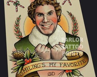 Buddy the Elf Christmas Tattoo Art Flash