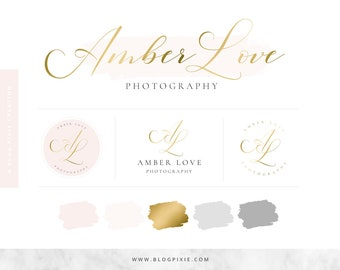 Logo Design - Branding Package - Blush and Gold - Blog Header - Premade Logos - Watermark - Photographer logo - Blogger