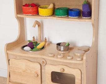 Wood Play Kitchen / Wooden Kitchen play set / Waldorf play kitchen / Play Kitchen toys / Waldorf kitchen