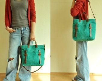 Waxed canvas tote leather accessories petroleum green messenger bag handbag shoulder bag brown cotton straps waxed canvas bag