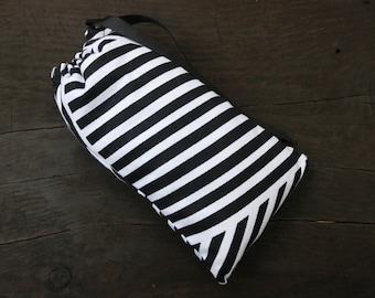SHIPS TODAY! Sesh bag- Black and white striped padded stash sack