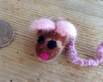 Needle Felted Wool Cat Toy Mouse