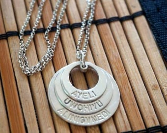 Circle Engraved Mother Necklace