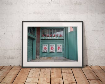 Red Sox ticket booth, Boston MA, will call, city, baseball, Fenway park, Massachusetts, wall decor, photograph, canvas