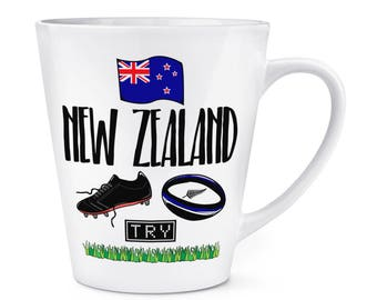 Rugby New Zealand 12oz Latte Mug Cup