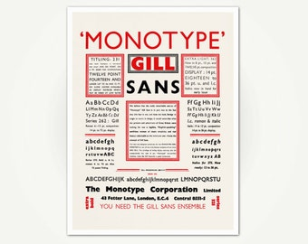 Vintage Typography Advertising Poster Print - Monotype Gill Sans Font Poster Art