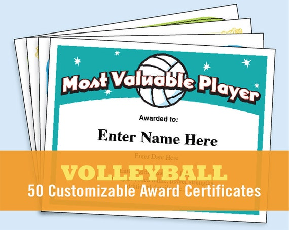 Volleyball Certificates kid certificates Child Certificate