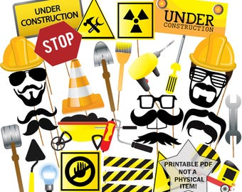 """Construction Photo Booth Props: """"PRINTABLE PARTY PROPS"""" Construction Party Props boy birthday party Party Props Set Tools Props Men at Work"""