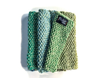 Ready to ship  mixed fibres  handknit scarf / A clear April Day // garden green   seafoam  malachite  neck adornment   ooak
