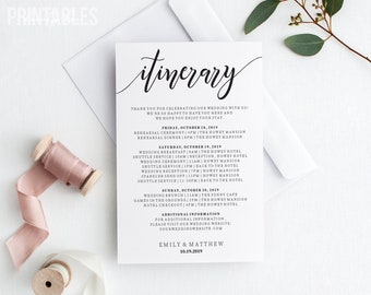 Editable Wedding Itinerary | Welcome Bag Timeline Template | Itinerary for Wedding | Timeline Card | Wedding Welcome Box Hotel Card | PDF