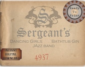 Sergeant's Speakeasy Sign Card Printable Prohibition Era Roaring 20s Style Art Deco Gatsby Party Wedding Centerpiece Bar Front Door Sign
