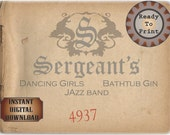 Sergeant's Speakeasy Card Printable Sign Prohibition Era Roaring 20s Style Art Deco Gatsby Party Wedding Centerpiece Bar Front Door Sign
