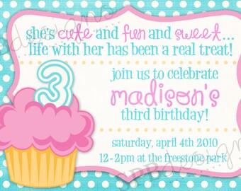 Cupcake Birthday Party Invitation -- Cupcake Cutie